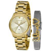 Kit Relógio Feminino Analógico Lince Dourado - Lrg4668l-kz95c1k - Unico