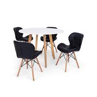 Conjunto Mesa De Jantar Laura 100cm Branca Com 4 Cadeiras Eames Eiffel Slim - Preta
