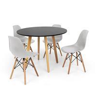 Conjunto Mesa De Jantar Laura 100cm Preta Com 4 Cadeiras Charles Eames - Cinza