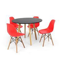 Conjunto Mesa De Jantar Laura 100cm Preta Com 4 Cadeiras Charles Eames - Vermelha