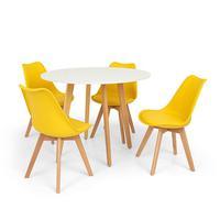 Conjunto Mesa De Jantar Laura 100cm Branca Com 4 Cadeiras Eames Wood Leda - Amarela