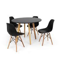 Conjunto Mesa De Jantar Laura 100cm Preta Com 4 Cadeiras Charles Eames - Preta
