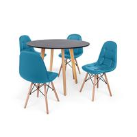 Conjunto Mesa De Jantar Laura 100cm Preta Com 4 Cadeiras Charles Eames Botonê - Turquesa