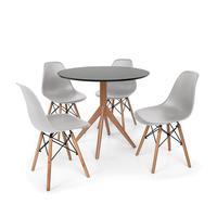 Conjunto Mesa De Jantar Maitê 80cm Preta Com 4 Cadeiras Charles Eames - Cinza