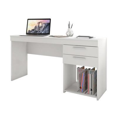 Conjunto Escritório Home Office Com Escrivaninha 2 Gavetas Branca E Cadeira Giratória Boston Preta