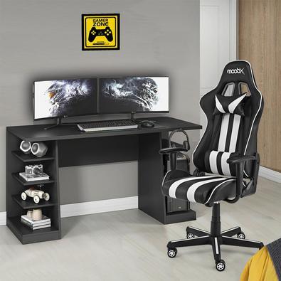 Cadeira Gamer Moobx Nitro Preto E Branco + Mesa Gamer Xp Preto