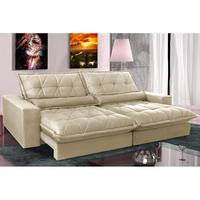 Sofa Retrátil E Reclinável 2,12m Com Molas Ensacadas Cama Inbox Soft Tecido Suede Bege