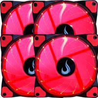 Kit Com 4 Cooler, Fan Rise Mode - 120mm, Led Vermelho Rm-wn-01-br