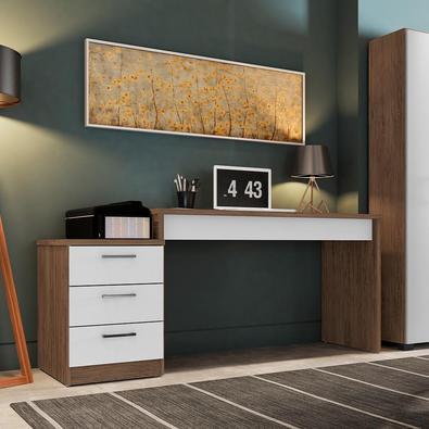Mesa Para Escritório Home Office Corina 3 Gavetas Avelã/branco Texturizados - Gran Belo