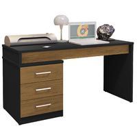 Mesa Para Escritório Home Office Corina 3 Gavetas Preto/freijó - Gran Belo