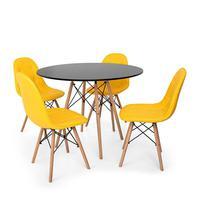 Conjunto Mesa Eiffel Preta 120cm + 4 Cadeiras Dkr Charles Eames Wood Estofada Botonê - Amarela