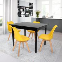Conjunto Mesa De Jantar Robust 110x90 Preta Com 4 Cadeiras Eames Wood Leda - Amarela