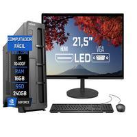 Computador Fácil Slim Completo Intel Core I5 10400f (décima Geração) 16gb Ddr4 Ssd 240gb Monitor 21.5 polegadas Hdmi Led