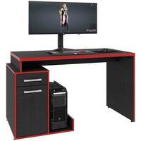 Mesa Para Computador Notebook Pc Gamer 01 Porta 01 Gaveta Shark C01 Preto Vermelho - Lyam Decor
