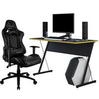 Kit Mesa Para Pc Gamer Kombat Preto Amarelo E Cadeira Gamer Tgc12 H01 Thunderx3 Preto - Lyam Decor