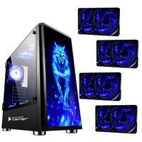 Gabinete Gamer Bg026 Preto Wolf S/ Fonte C/ 8 Coolers Azul Inclusos