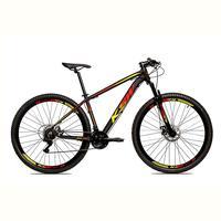 Bicicleta Alumínio Aro 29 Ksw 24 Velocidades Freio A Disco Krw16 - Preto/amarelo E Vermelho - 15.5´´