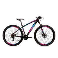 Bicicleta Alumínio Ksw Shimano Altus 24 Vel Freio Hidráulico E Suspensão Com Trava Krw18 - 17'' - Preto/azul E Rosa