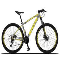 Bicicleta Aro 29 Dropp Z3x 27v Suspensão E Freio Hidraulico - Cinza/amarelo - 21´´ - 21´´