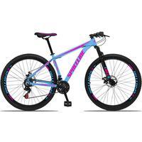 Bicicleta Aro 29 Spaceline Orion 21v Suspensão Freio A Disco - Azul/rosa - 21''