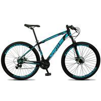 Bicicleta Aro 29 Spaceline Vega 21v Shimano E Freio A Disco - Preto/azul - 21´´ - 21´´