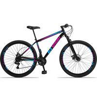Bicicleta Aro 29 Gt Sprint Mx1. 21v Freio Disco E Suspensão - Preto/azul E Rosa - 19´´ - 19´´