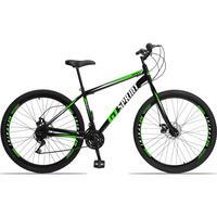 Bicicleta Aro 29 Gt Sprint Mx1. 21v Garfo Rigido Freio Disco - Preto/verde E Branco - 19´´ - 19´´