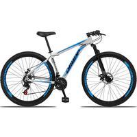 Bicicleta Aro 29 Dropp Aluminum 21v Suspensão, Freio A Disco - Branco/azul E Preto - 19