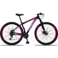 Bicicleta Aro 29 Dropp Aluminum 21v Suspensão, Freio A Disco - Preto/rosa E Branco - 17