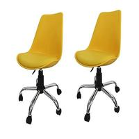 Kit 2 Cadeiras Em Abs Pelegrin Pel-c032a Amarela Com Design Eames Dkr Office