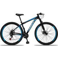 Bicicleta Aro 29 Dropp Aluminum 21v Suspensão, Freio A Disco - Preto/azul E Branco - 17