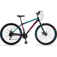 Bicicleta Aro 29 Spaceline Moon 21v Garfo Rigido Freio Disco - Preto/azul E Rosa - 17´´ - 17´´