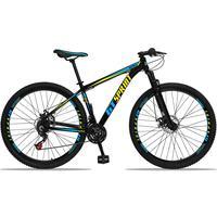 Bicicleta Aro 29 Gt Sprint Mx1 21v Suspensão E Freio A Disco - Preto/azul E Amarelo - 17