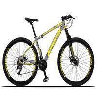 Bicicleta Aro 29 Dropp Z3x 21v Suspensão E Freio Disco - Cinza/amarelo - 19''