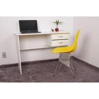 Kit Escrivaninha Com Gaveteiro Branca + 01 Cadeira Eiffel Base Metal - Amarela