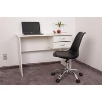 Kit Escrivaninha Com Gaveteiro Branca e 01 Cadeira Eiffel Office - Preta