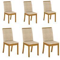 Conjunto 6 Cadeiras Estofadas Isa Para Mesa De Jantar Henn