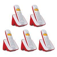 Kit Telefone Sem Fio + 4 Ramais Ts 3110 Branco E Vermelho - Intelbras