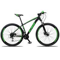 """Bicicleta Aro 29 Ksw 24 Marchas Freio Hidráulico, Trava E K7 Cor: preto/verde, Tamanho Do Quadro:17"""""""