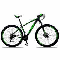 """Bicicleta Aro 29 Ksw 24 Marchas Freios A Disco E Suspensão Cor:preto/verdetamanho Do Quadro:19"""" - 19"""""""