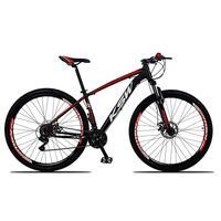 """Bicicleta Aro 29 Ksw 24 Marchas, Freio Hidráulico E Suspensão, Cor: preto/vermelho E Branco, Tamanho Do Quadro: 15"""""""