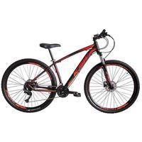 """Bicicleta Aro 29 Ksw 21 Marchas, Freios A Disco C/trava E K7, Cor: preto/laranja E Vermelho, Tamanho Do Quadro: 17"""""""