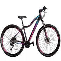 """Bicicleta Aro 29 Ksw 21 Marchas Freio Hidraulico, Trava E K7 Cor: Preto/Rosa E Azul, Tamanho Do Quadro:17"""" - 17"""""""