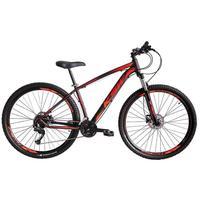 """Bicicleta Aro 29 Ksw 21 Marchas Freio Hidráulico, Trava E K7 Cor: Preto/Laranja E Vermelho, Tamanho Do Quadro:21"""" - 21"""""""