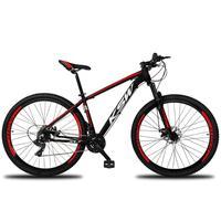 Bicicleta Aro 29 Ksw 21 Marchas Freios A Disco, K7 E Suspensão Cor: preto/vermelho E Branco tamanho Do Quadro:21  - 21