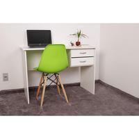 Kit Escrivaninha Com Gaveteiro Branca + 01 Cadeira Charles Eames - Verde