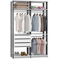 Closet Modulado 3 Gavetas e 3 Cabideiros Clothes 9013 – BE Mobiliário - Branco / Espresso