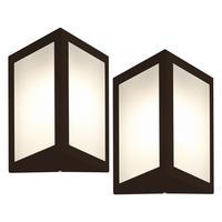 Luminária De Parede Triangular Marrom Kit Com 2