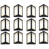 Luminária De Parede Triangular Preto Kit Com 12