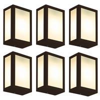 Luminária De Parede Retangular Marrom Kit Com 6